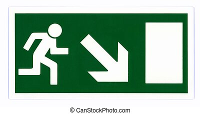 Emergency exit sign isolated on white with clipping path....