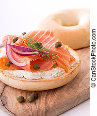 Lox and Bagel with Cream Cheese - A delicious bagel with...