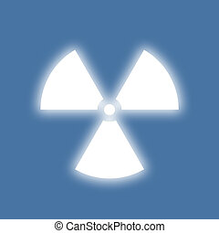 Nuclear radiation symbol on a blue background. Simple Flat...