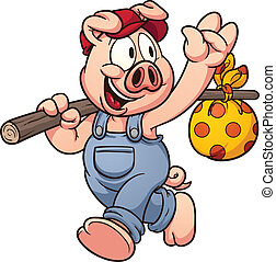 Cartoon pig waving goodbye. Vector clip art illustration...