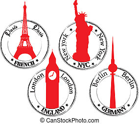 Paris NYC- London-  Berlin - Stamp red and black