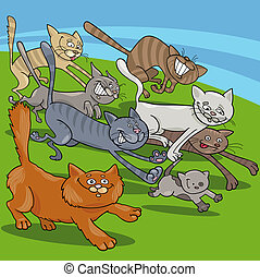 running cats cartoon illustration - Cartoon Illustrations of...