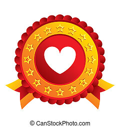 Heart sign icon. Love symbol. Red award label with stars and...