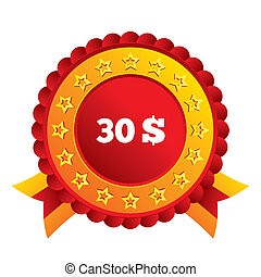 30 Dollars sign icon. USD currency symbol. Money label. Red...