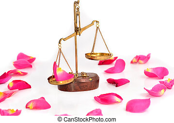 rose scales of justice over white background