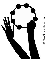 hands playing tambourine, vector