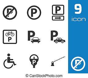 Vector black parking icons set on white background