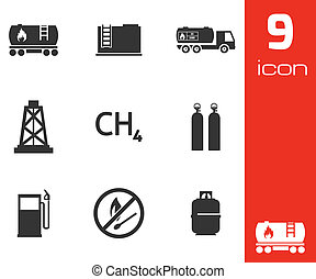 Vector black natural gas icons set on white background