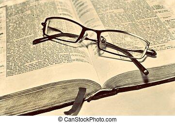 葡萄酒, 書, 老, 手稿, 聖經