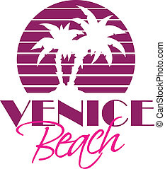 Venice Beach - Vector illustration of Venise Beach vintage...