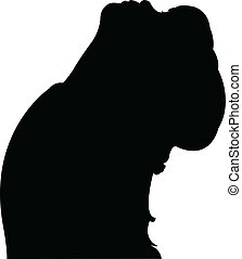 girl head , looking up, silhouette
