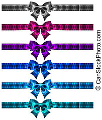 Festive polka dot bow-knots with ribbons - Vector...