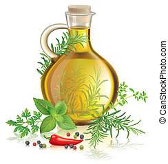 Olive oil with spices and herbs Contains transparent objects...