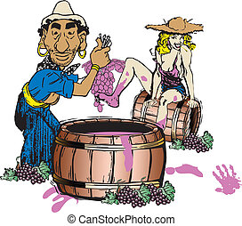 Cartoon Couple Stomping Grapes - Vector cartoon of Italian...