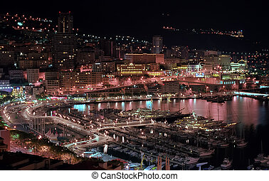 Monaco in night lights - Monaco harbor in night lights