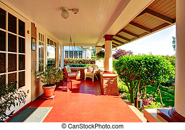 Beautiful column porch with swing - Big porch with columns,...