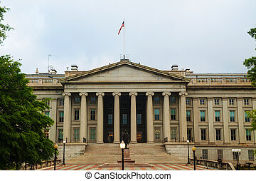 The treasury department building in Washington, DC in the...