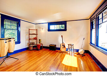 Ivory and blue rehearsal room - Bright room with blue window...
