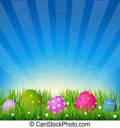 Blue Sky With Grass Easter Card, With Gradient Mesh, Vector...