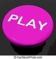 Play Button Shows Playing Online Gaming Or Gambling