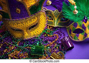sortido, mardi, gras, ou, Carnivale, máscara, roxo,...