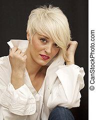 hermoso, mujer, Cortocircuito, blanco, pelo