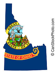 State of Idaho flag map isolated on a white background, USA...