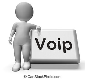 Voip Button With Character Means Voice Over Internet...