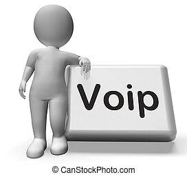Voip, botón, con, carácter, medios, voz,...
