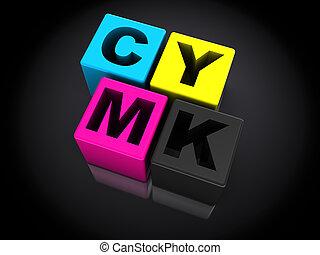cmyk - 3d cmyk symbol over black background