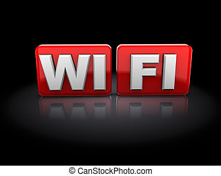 wi-fi sign - 3d illustration of wi-fi sign over black...