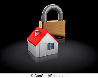 locked house - 3d illustration of house and padlock, over...