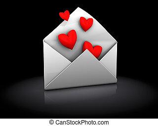 love letter - 3d illustration of envelope with hearts, over...