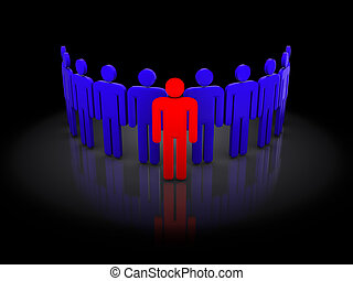 team - abstract 3d illustration of team concept, over black...