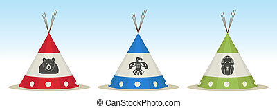 Tepee houses - 3 Tepee houses with animals draw