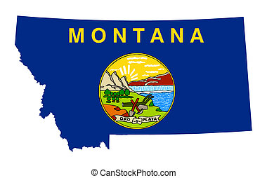 State of Montana flag map isolated on a white background,...