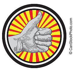 thumb up sign zoom out background vector