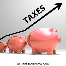 Taxes Arrow Shows Higher Taxation And Levies - Taxes Arrow...
