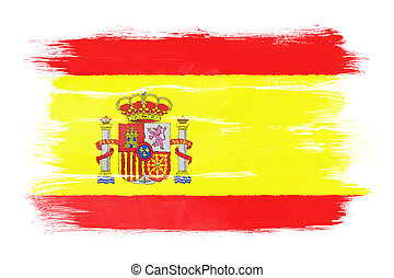 The Spanish flag painted on white paper with watercolor