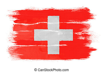 The Swiss flag painted on white paper with watercolor