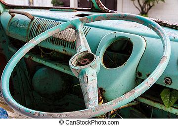 coche, oxidado, viejo, Arriba, cierre