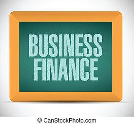 business finance written on a chalkboard.
