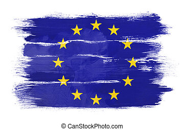 The European Union Flag painted on white paper with...