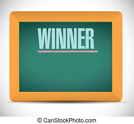 winner word written on a chalkboard. illustration