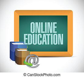 online education written on a chalkboard.