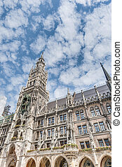 Neues Rathaus building in Munich, Germany - Main facade of...