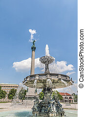 Fountain at Castle Square in Stuttgart, Germany - Fountain...