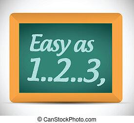 easy as 1, 2, 3 written on a chalkboard.