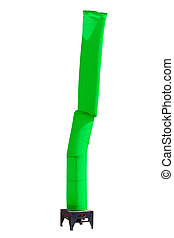 green sky tube balloon display stand isolated on white...