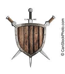 madeira, espadas, escudo, isolado